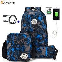 3pcs USB Male Backpack Bag Set Red And Blue High School Bag For Boys One Shoulder
