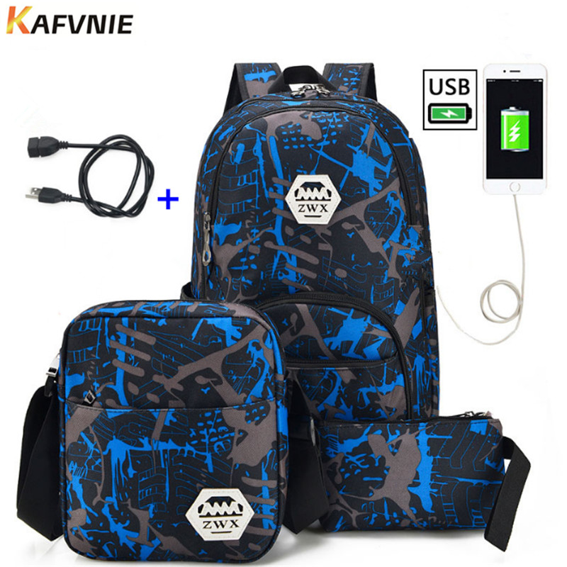 3pcs USB Male backpack bag set red and blue high school bag for boys one shoulder big student book bag men school backpack women biostal ne 500 0 5