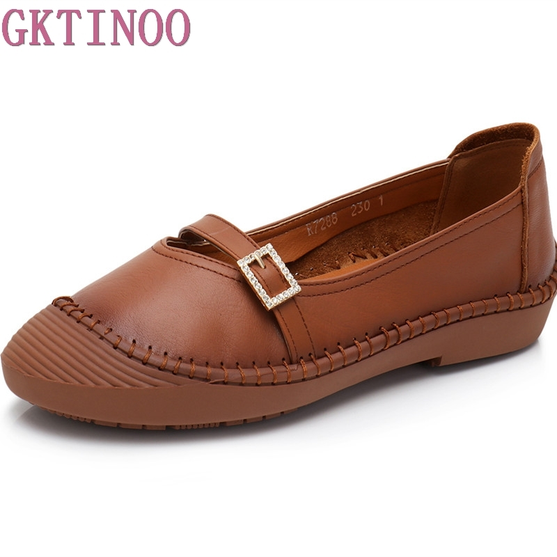 GKTINOO New Handmade shoe 2018 Loafers Women Shoes Casual Work Driving Shoes Women Flats Genuine Leather Flat Plus Size gktinoo bow tassel loafers shoe for women handmade genuine leather soft flats autumn driving shoe round toe women flats