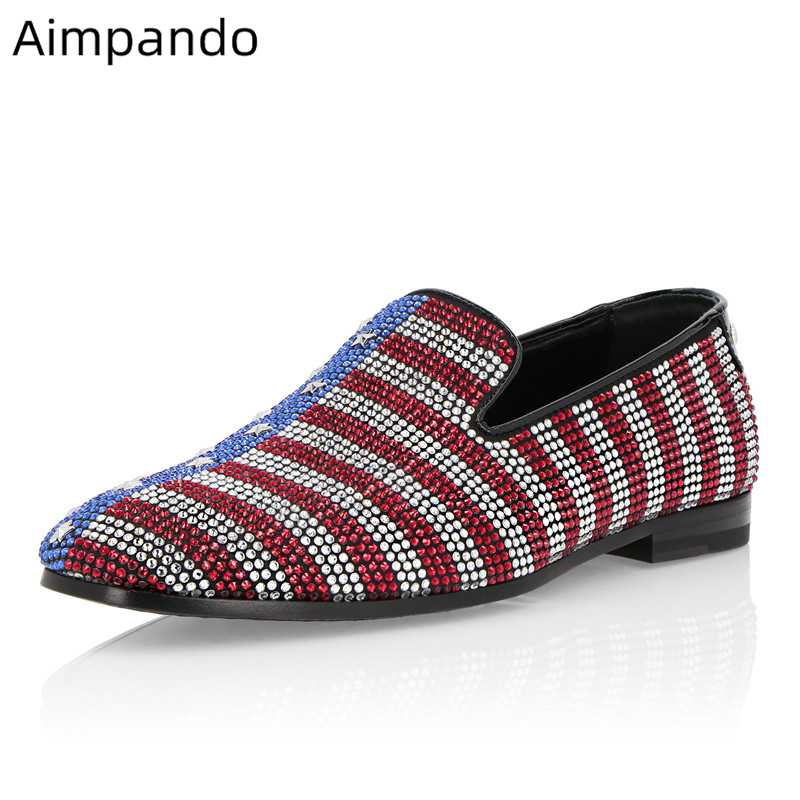 Top Quality Drill Rhinestone Casual Shoes Men Striped Color Sequin Star Crystal Dress Shoes For Men