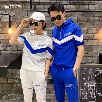 Tsingyi 2019 Patchwork Reflective Striped Hooded Shirts+Ankle-length pants 2pcs Sets Men Women Zipper Streetwear Reflect Sets