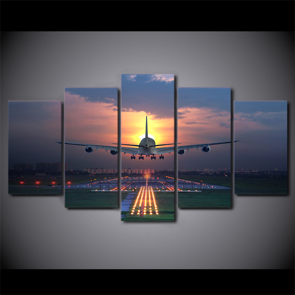 Framed Canvas Wall Art Pictures Home Decor Living Room 5 Pieces Sunset Lights Airplane Lawn Painting HD Print Aircraft Poster