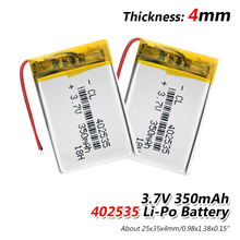 3.7V polymer lithium battery 402535 350Mah Rechargeable Li-ion Cell For GPS car recorder M
