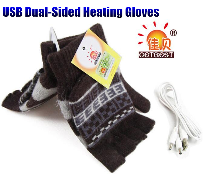 200pcs! Winter Warm USB Dual-Sided Heating Gloves,Super Stretch Men&Boys Half-Finger Wool Knitting Glove,with 1.5m USB Cable