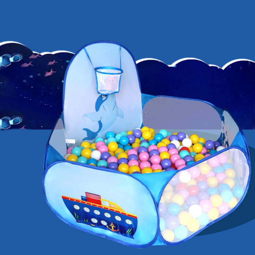 Crianças dos desenhos animados dolphin padrão bebê bola pit dobrável lavável brinquedo piscina crianças hexágono oceano jogo barraca de jogo casa
