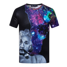 ZOGAA 2019 Short-sleeved T-shirt in Summer Albert Einstein Pipe Digital Printing Pattern Couple Tee streetwear