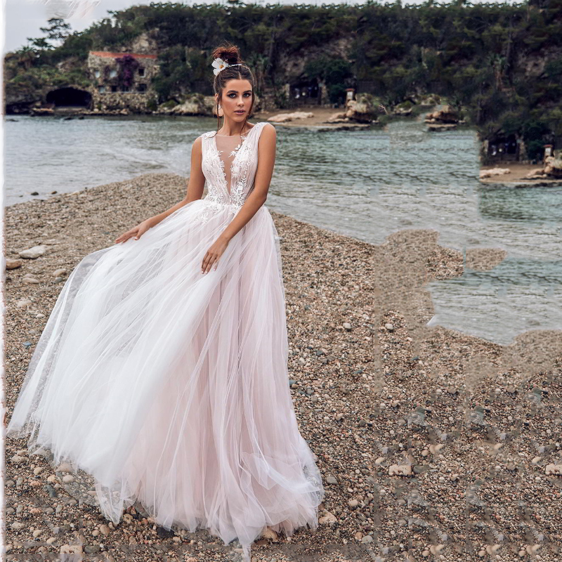 LORIE Princess Wedding Dress A Line  Bridal Gowns Light Pink Appliqued Lace Boho Wedding Gown  Floor Length