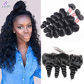 100 Top Quality 8A Rosa Human Hair Products 13X4 Ear To Ear Lace Frontal Closure With 3 Bundles Indian Loose Wave With Frontal