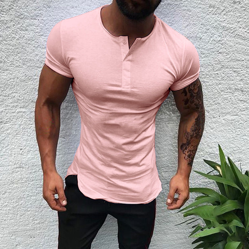 2019 Summer Fashion Men's   T     Shirt   Casual Solid Short Sleeve Men   T  -  Shirt   Slim Fit Hip-Hop Top Tees Mens Clothing