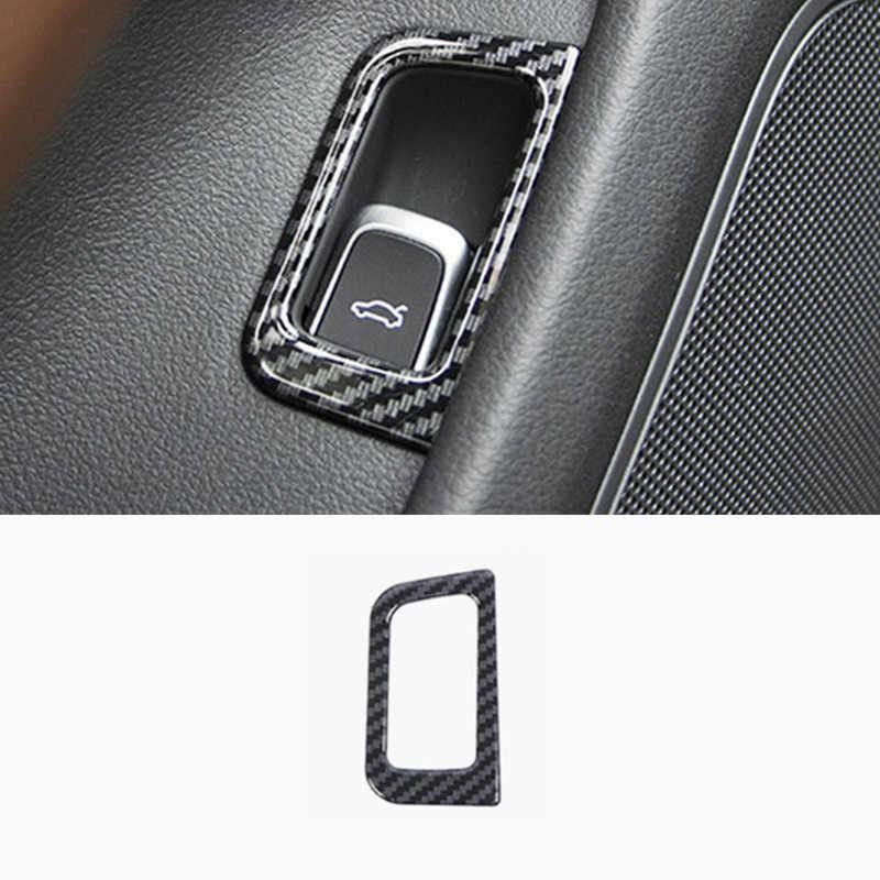 سيارة الجذع التبديل زر غطاء الديكور ألياف الكربون ملصق ملون التشذيب لأودي A6 C7 2012-2018 الداخلية اكسسوارات