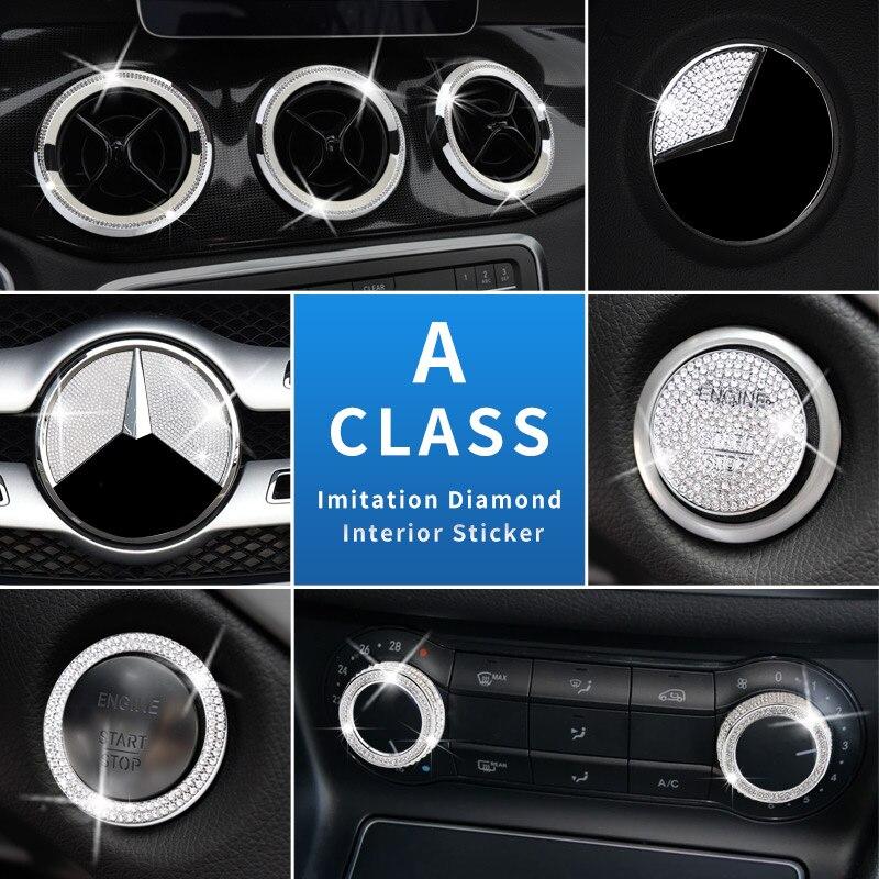 For Mercedes Benz A Class Gla220 Imitation Diamond Interior Steering Wheel Button Engine Strat Hood Grill Emblem Sticker Decal