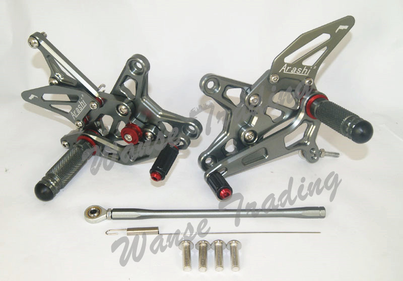 Adjustable Rider Rear Sets Rearset Footrest Foot Rest Pegs Gray For Kawasaki Ninja ZX 6R ZX6R