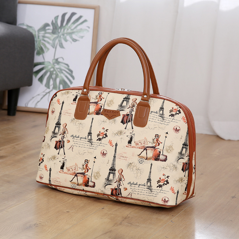 Luggage Duffle Waterproof Travel-Duffel-Bag Women Bag Print PU New-Tower Beauty Summer-Style