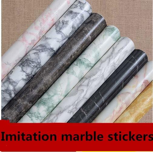 Épaississement marbre collant papier peint papier peint de cuisine baie foyer étanche peinture meubles rénovation stickers1334