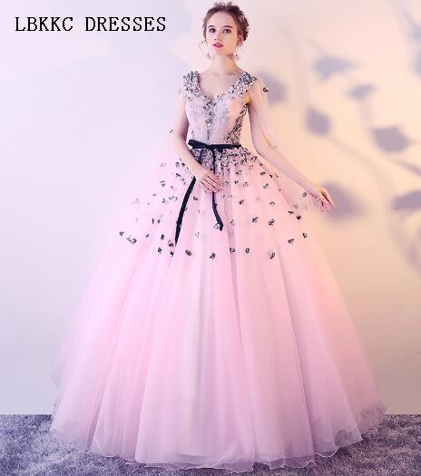 Cheap Price Long Sleeves V Neck Quinceanera Dresses Grey And Pink Ball Gown Vestidos 15 Anos Quinceanera Vestido Para 15 Anos Bracing Up The Whole System And Strengthening It