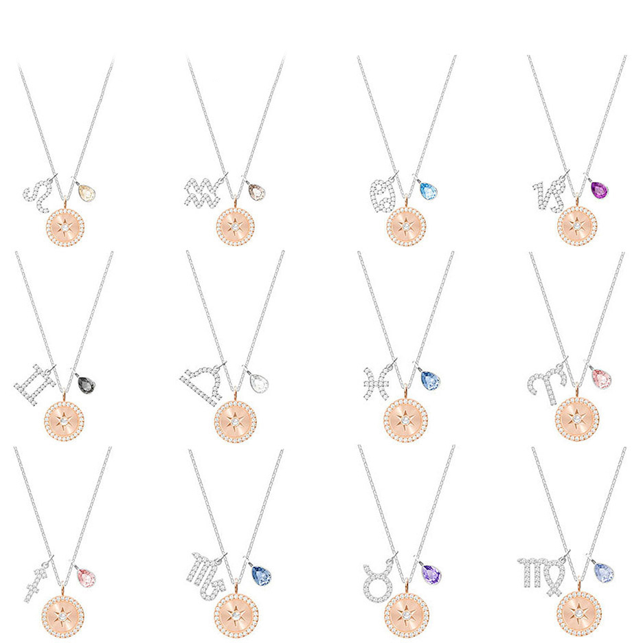NEW SWA ZODIAC 12 Constellation Necklace Female Smart Clavicle Chain Leo Aquarius Cancer Capricorn Gemini Libra Pisces AriesNEW SWA ZODIAC 12 Constellation Necklace Female Smart Clavicle Chain Leo Aquarius Cancer Capricorn Gemini Libra Pisces Aries