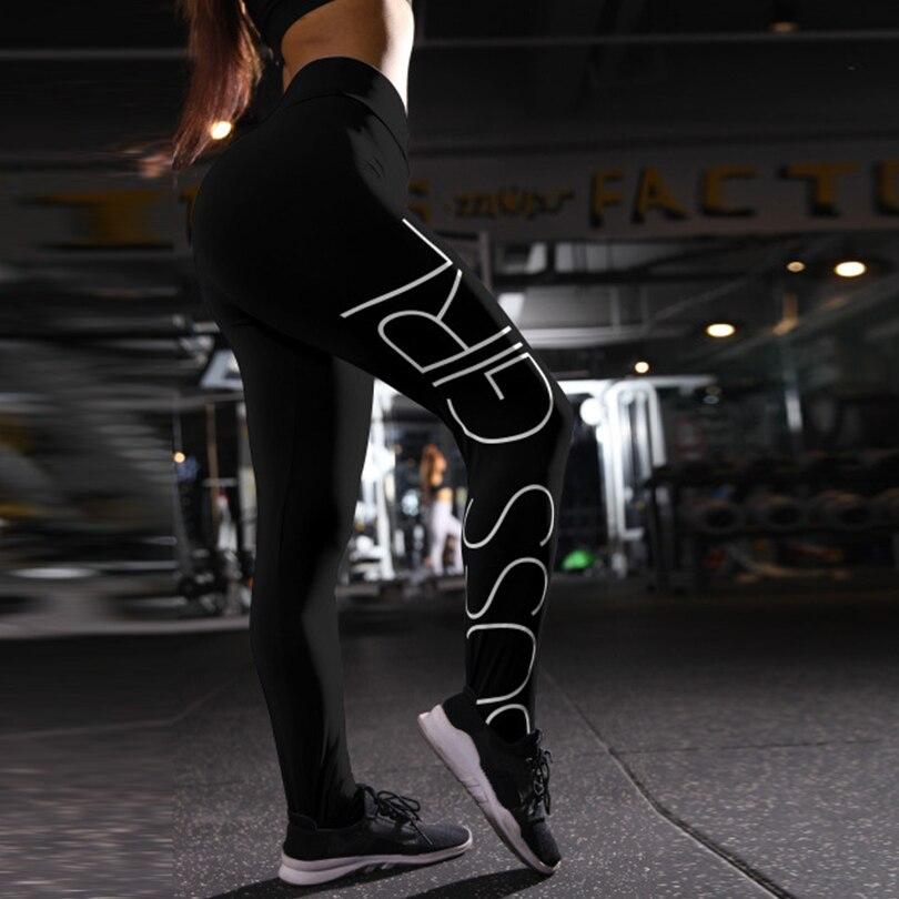 Sexy Lletter Pocket Black Leggings For Women High Waist Hip Workout Sports Push Up Female Leggings Spandex Run Pants Clothing in Leggings from Women 39 s Clothing