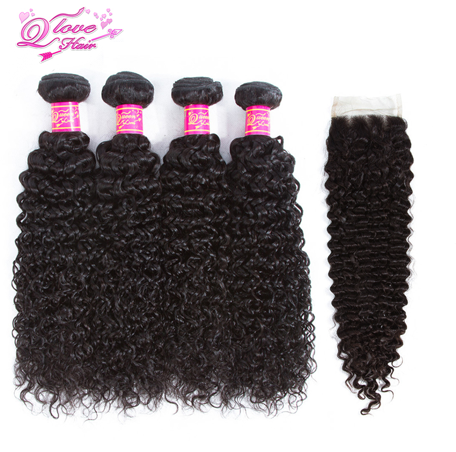 Queen Love Hair 5pcs/lot Brazilian Kinky Curly Wave 4 Bundles With Lace Closure 100% Human Hair Weaves Extensions Non-Remy Hair