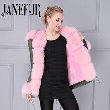 Pink fake Fur Lining Kahki Green Parka with Big Fox Fur Hood Winter Coat for Women with Natural Fur Trim