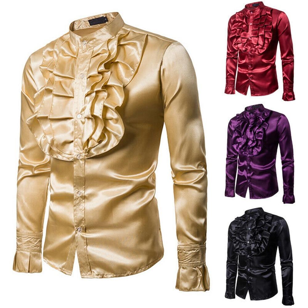 Helisopus 2020 New Silk Satin Men Shirt Vintage Wedding Tuxedo Shirt Man Ruffle Stand Collar Long-sleeve Slim Fit Gothic Shirts