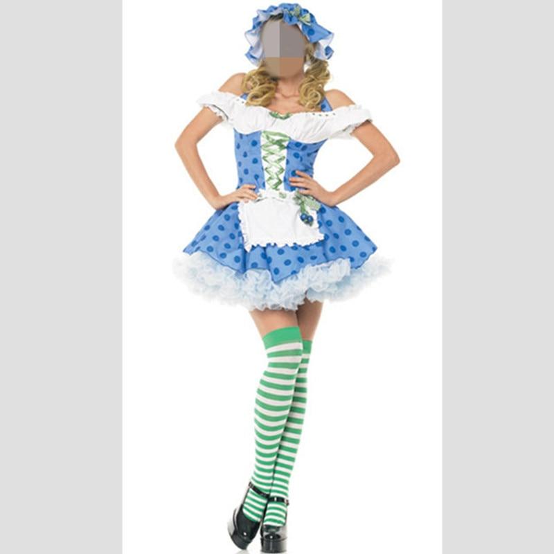 Hot Blue Popular Women's Oktoberfest Costume Fancy Dress Beer Costume Plus Size Halloween Costume