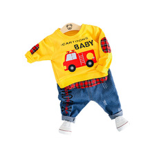 Explosion models 0-3 years old boys and girls cartoon car cute jeans shirt + pants two-piece