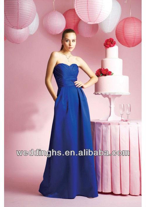 Sweetheart Taffeta A Line Royal Blue Bridesmaid Dresses.jpg