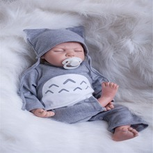 20 inch 50 cm Silicone baby reborn dolls, lifelike doll reborn Fashion handsome gray piece clothes lovely sleeping baby