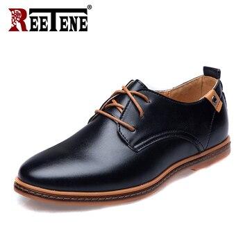 e4b1974df83 REETENE cuero Casual hombres zapatos moda hombres planos punta redonda  cómodo Oficina Hombre Zapatos de vestir