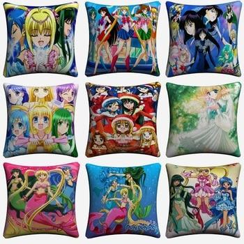 Pichi Pichi Pitch Sailor Moon Decorative Pillow Case For Sofa 45x45cm Linen Cushion Cover Home Decor Throw Pillowcase Almofada a long pitch home