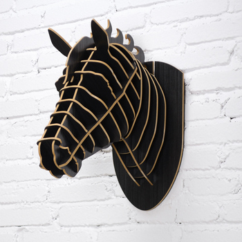 Simple Nordic Style Home Decoration Creative Wood Horse Head For Wall Hanging Decoration Black, White, Green, Red, Brown, Orange