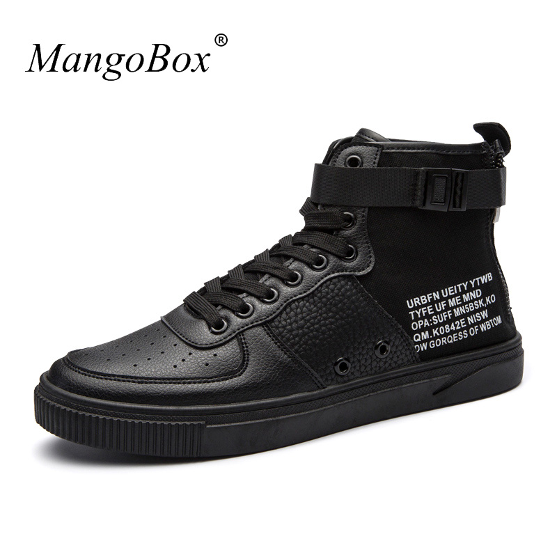 Designer Boots For Men Popular Men Casual Pu Leather Shoes Black Mens Casual Sneakers Young Boy Fashion Boots Brand Footwear Men