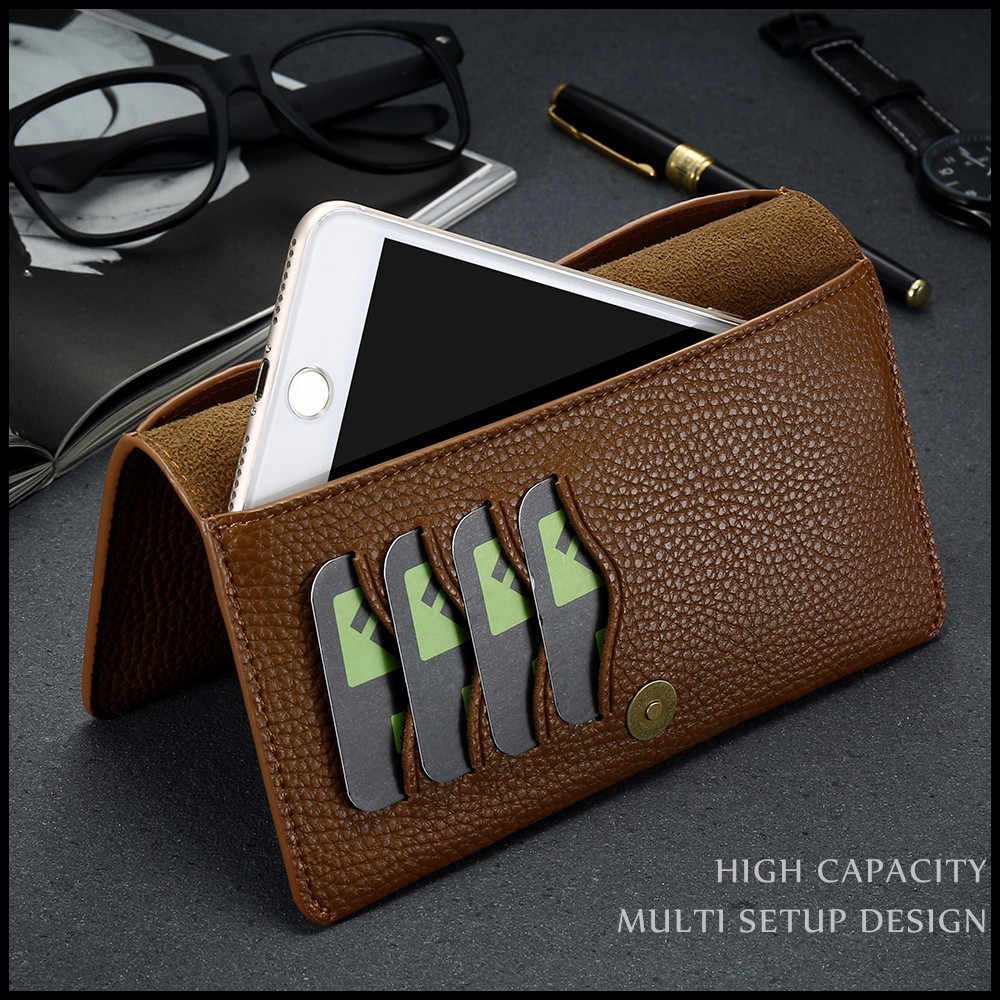 """KISSCASE 7,0 """"Universal de lujo Flip caja de teléfono de cuero para iPhone Huawei P20 amigo 20 Lite cartera caso para Xiaomi mi 8 A1 A2 Lite"""
