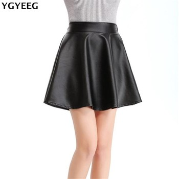 YGYEEG 2020 New Elastic Waist Faux Leather Skater Flare Skirt Mini Skirt Above Knee Solid Color Skirt S/M/L/XL Pleated Female 2020 new mosaic chiffon pleated skirt contrasting color academic pleated skirt short skirt goth fashion a line above knee