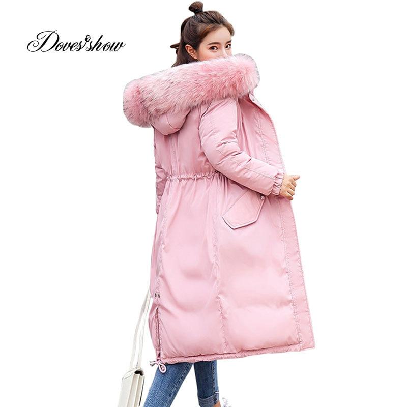 Elastic Hooded Fur Collar Winter Down Coat Jacket Long Warm Women Parkas Outwear Casaco Feminino Abrigos