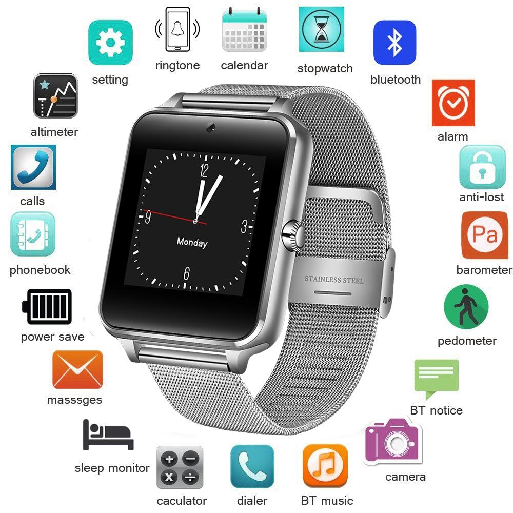 Herrenuhren 2018 Neue Edelstahl Bluetooth Smart Uhr Frauen Männer Sport Wasserdichte Smartwatch Led Farbe Touch Screen Uhr Unterstützung Sim Tf Uhren