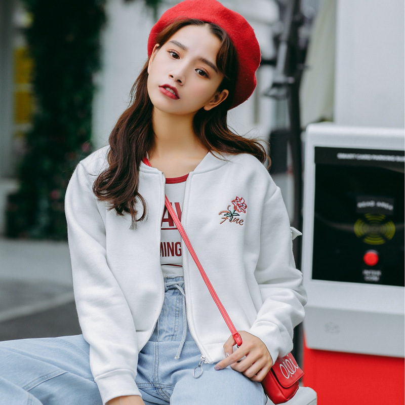 Women Coat Jackets Winter Warm 2017 New Hot Fashion Female Thick Casual Zipper Stand Collar Embroidery Long Sleeve Basic Tops