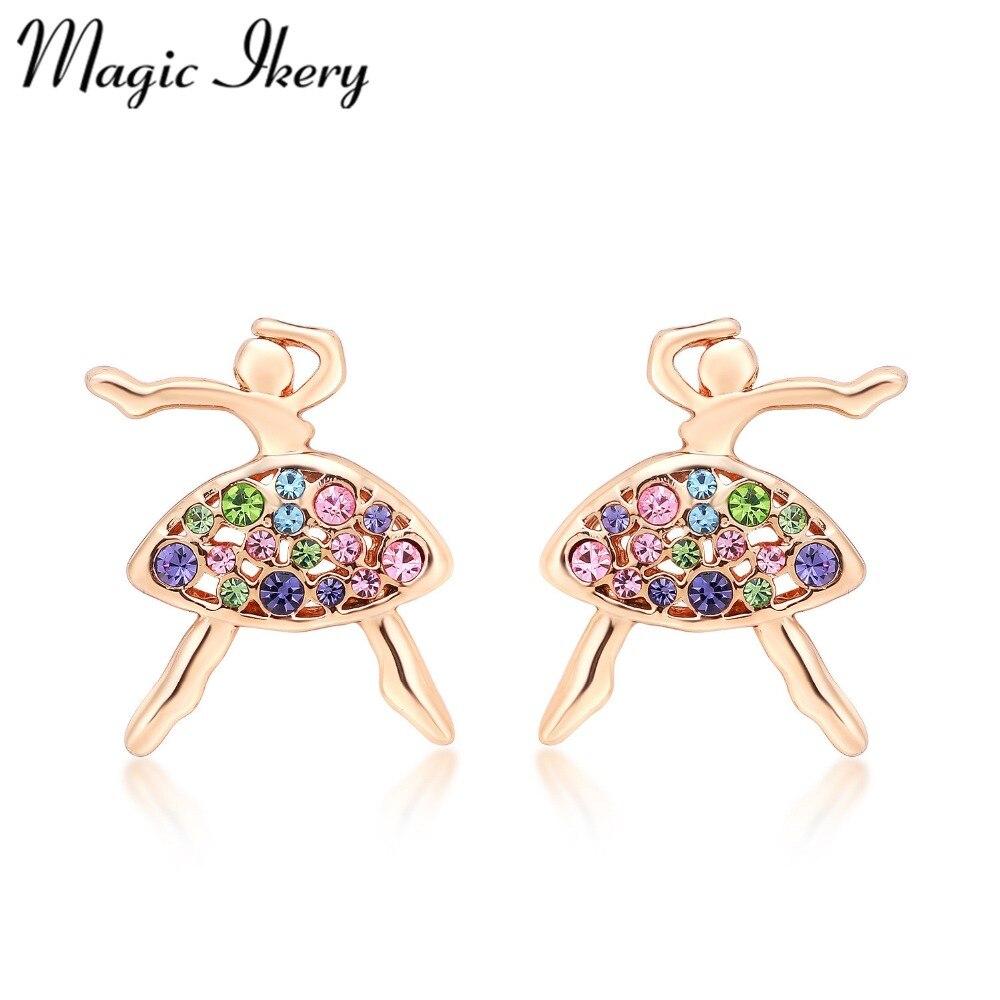 Magic Ikery Hot Sale Fashion Rhinestone Crystal Cute Dancing Girl Stud  Earrings Jewelry For Women Gift