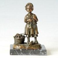 Klasyczna Sztuka Brązu Posąg dziewczynka pick winogrona odlewania miedzi figurka rzeźba dekoracji domu Prezenty