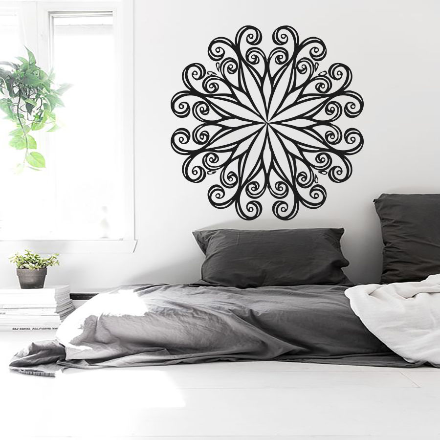 3m Pvc Waterproof Home Decor Wall Stickers Vertical: Wall Decals Mandala Indian Yoga Oum Om Sign Decal Vinyl