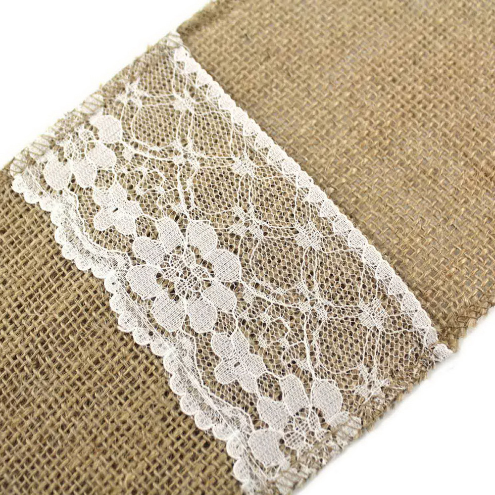 5pieces 4 X8 Hessian Burlap Lace Wedding Tableware Pouch Cutlery Holder Decor Favor Rustic Vintage Patry Decoration In Party Diy Decorations From