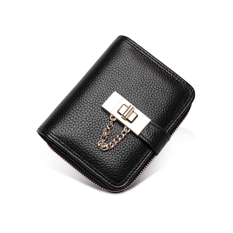 Europe and the United States new simple multi card leather purse female short buckle leather zipper wallet card package tide org europe and the united states women s new winter 2016 worn out show thin butterfly sequins loose nine points straight jeans