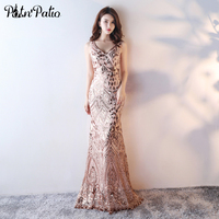 PotN Patio Sexy See Through Back Long Formal Dresses 2017 V Neck Sequined Mermaid Prom Dresses