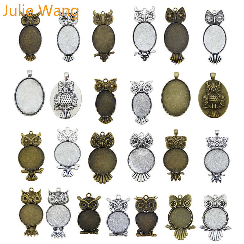 Julie Wang 1-5PCS 21 Styles Antique Color Owl Bird Cabochon Setting Base Tray Bezels Blank Charms Photo Pendant Jewelry Making