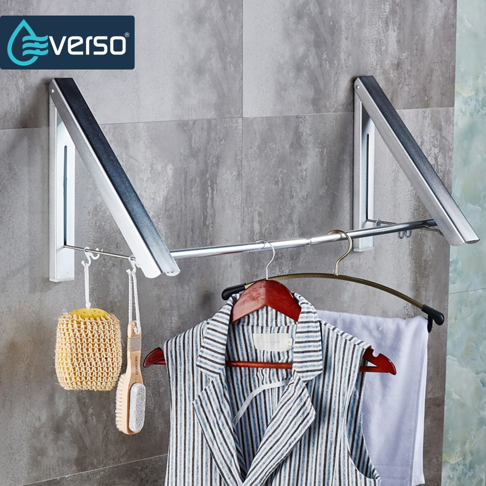 EVERSO Wall Hanger Hook Retractable Indoor Clothes Hanger Magic Foldable Drying Rack Waterproof Clothes Towel Rack Robe Hook designer collection magnetic foldable purse hook hanger with hidden mirror red flowers