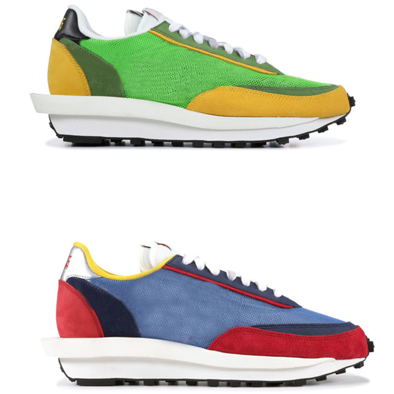 2019 LD gaufre Sacai chaussures de course vert Multi bleu Multi hommes femmes baskets chaussures Tripe Sport baskets chaussures de plein air