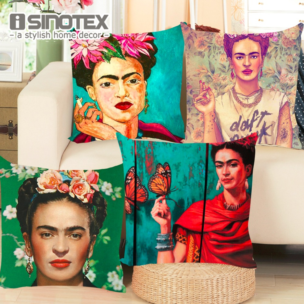 Eccezionale Cushion Cover Frida Kahlo Pillow Case Firm Flower Butterfly Throw  PB98