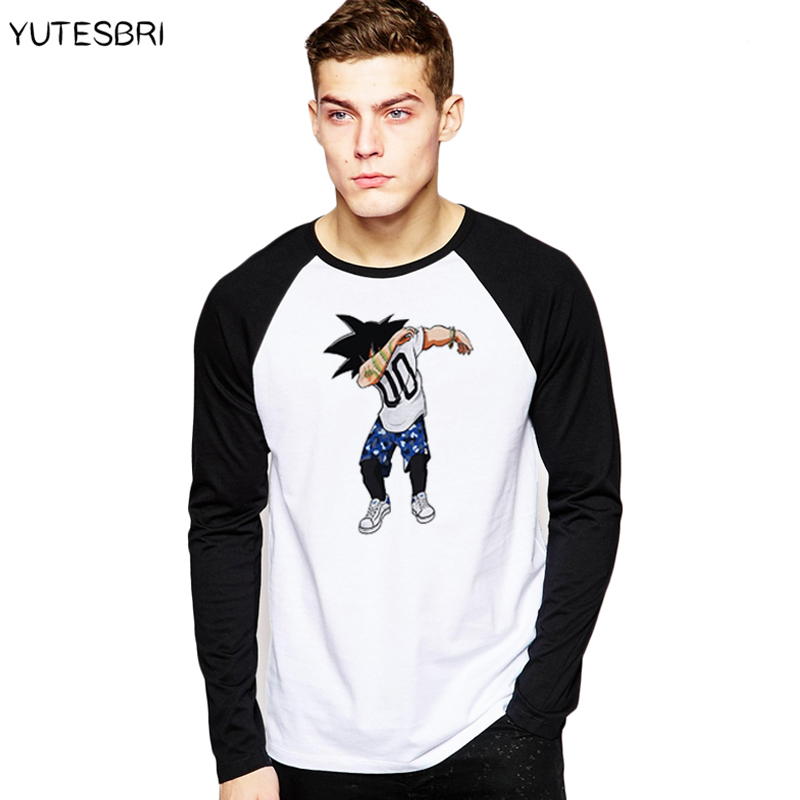 Men long sleeves Dabbing Dragon Ball Son Goku T-Shirt Men Funny StreetWear Dab T Shirts Dabbing Unicorn/ Panda Hip Hop top Tees ...