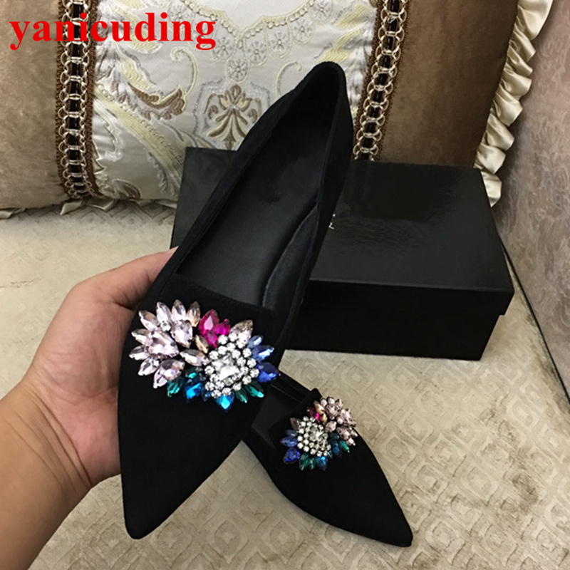 Pointed Toe Kid Suede Women Flats Low Top Loafers Colorful Crystal Embellished New Brand Wedding Party Star Runway Shoes Slip On summer slip ons 45 46 9 women shoes for dancing pointed toe flats ballet ladies loafers soft sole low top gold silver black pink
