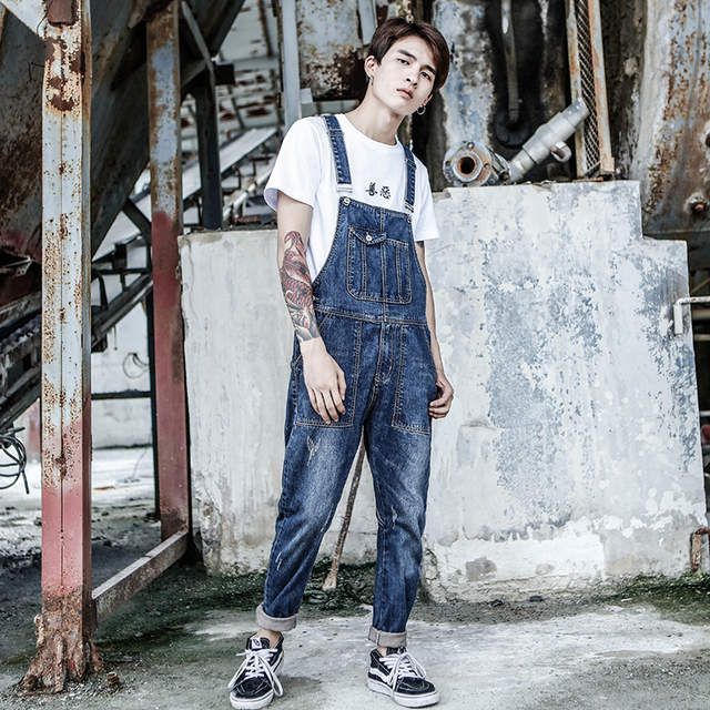 2019 Spring and Autumn Bib Male Japanese Washed cats Retro Blue Jumpsuit Staff Wear Old jeans Long Slim pants Size M L XL XXL